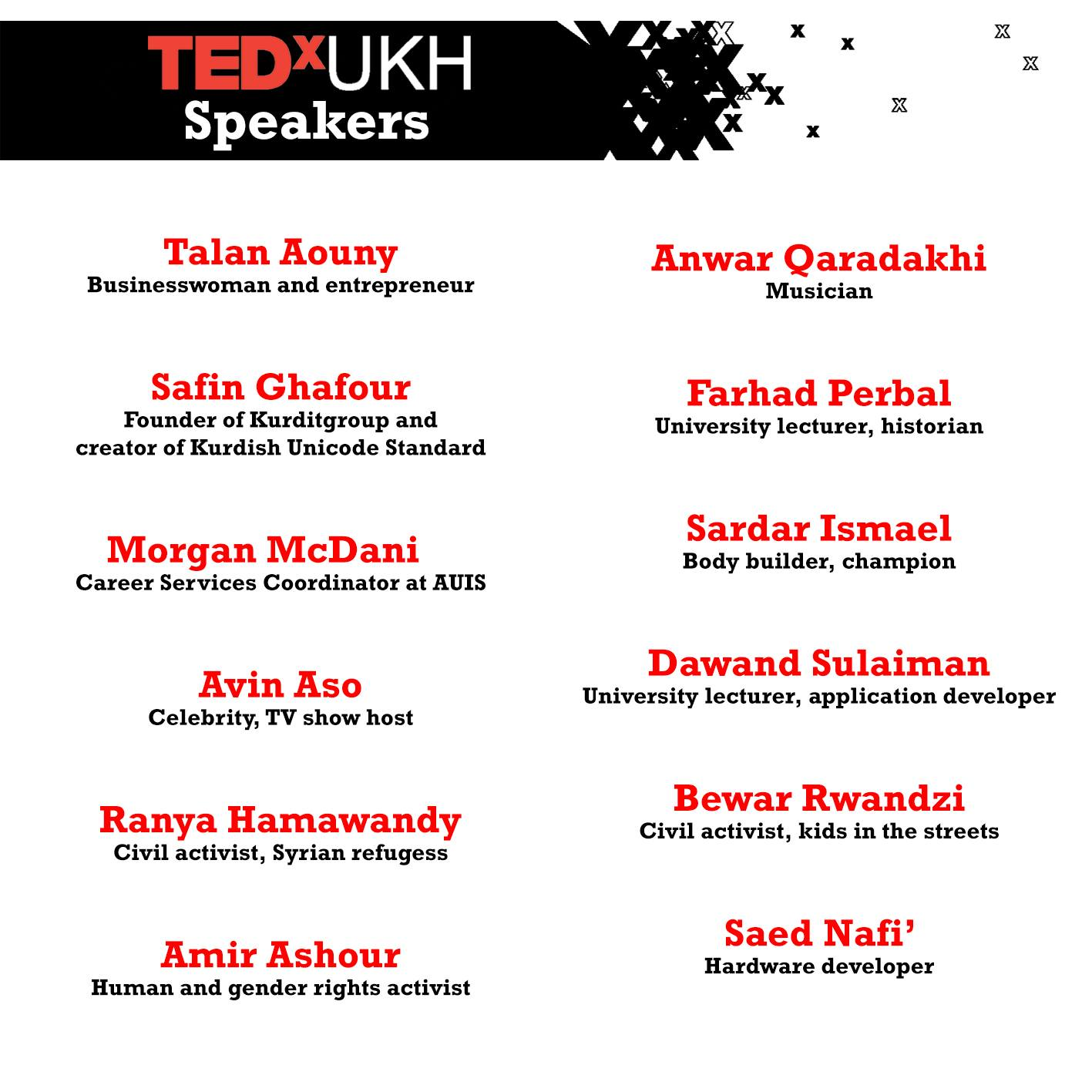TEDxUKH Speakers